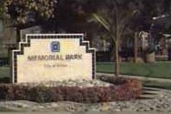 The entrance sign for Memorial Park
