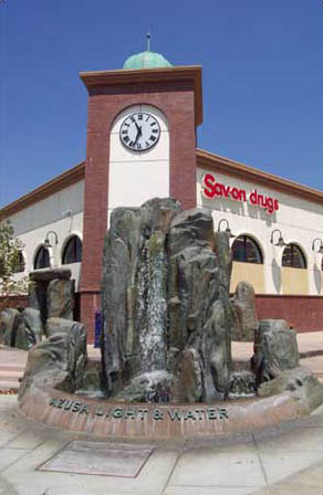 Light and Water Fountain at corner of Azusa Avenue and Foothill Boulevard
