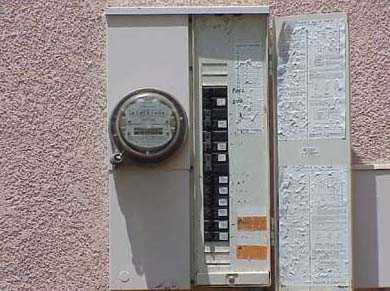 Electric Meter with breaker panel open