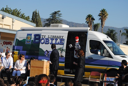 Cat in the Hat comes out of the Library Bookmobile