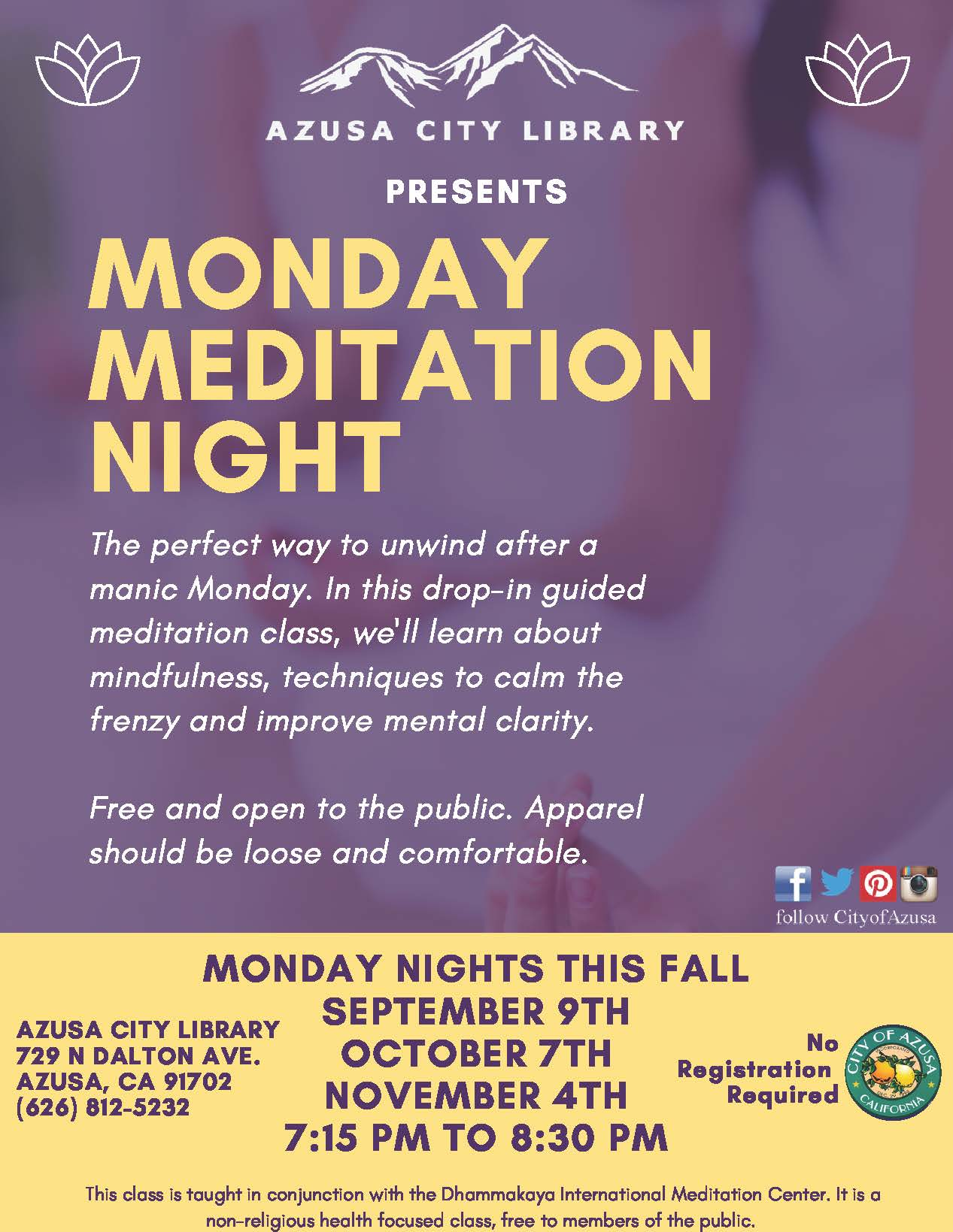 Monday Meditation Night Flyer 0919 Opens in new window